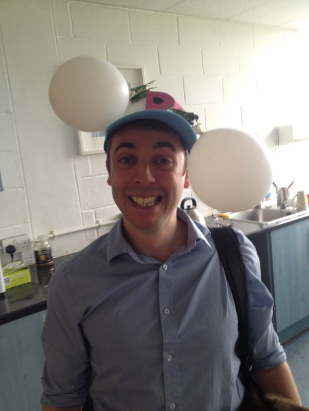 Shortly after finishing the viva, Rosalind presented Tom with his PhD hat. This is a tradition Luc stole from his time in Switzerland: the new most senior PhD candidate makes a hat to honour the achievement of the labs most recently fledged member