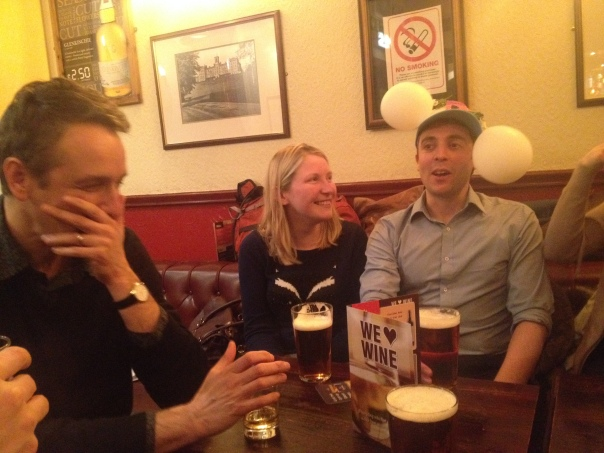 Post-viva celebrations at the Tappit Hen in Dunblane. tom is accompanied by his wife Kirsty on his right, and his external examiner, Dr. Alexei Maklakov