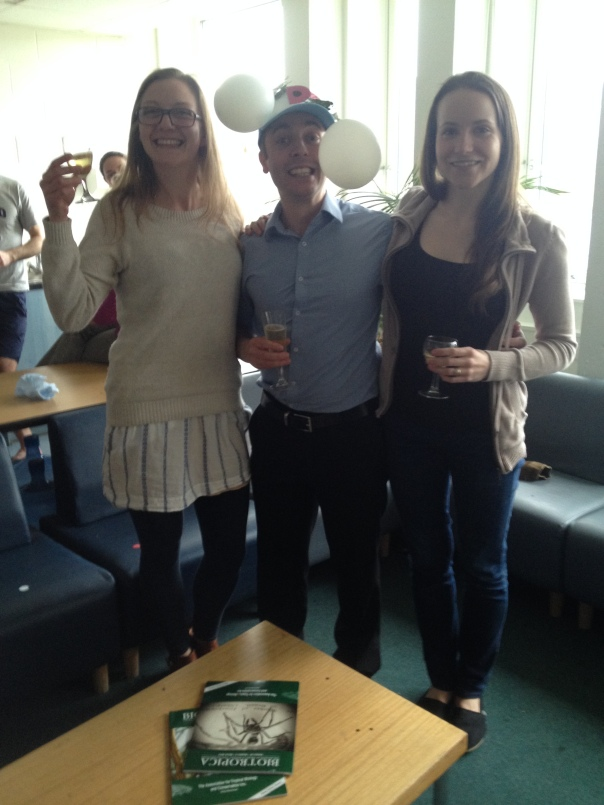 Tom posing with Lilly (left) and Rosalind shortly after passing his viva.