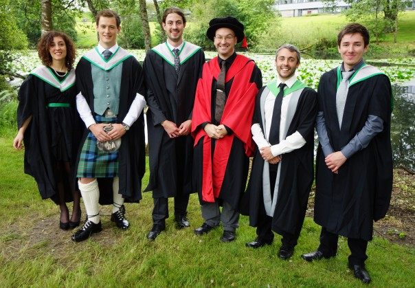 The 2014 graduating crew, in fancy dress, from left to right: Claudia Santori, Gregor Hogg, Toby Hector, Luc Bussière, Tom Houslay, & Sam Paterson. Photo by Miles Houslay.